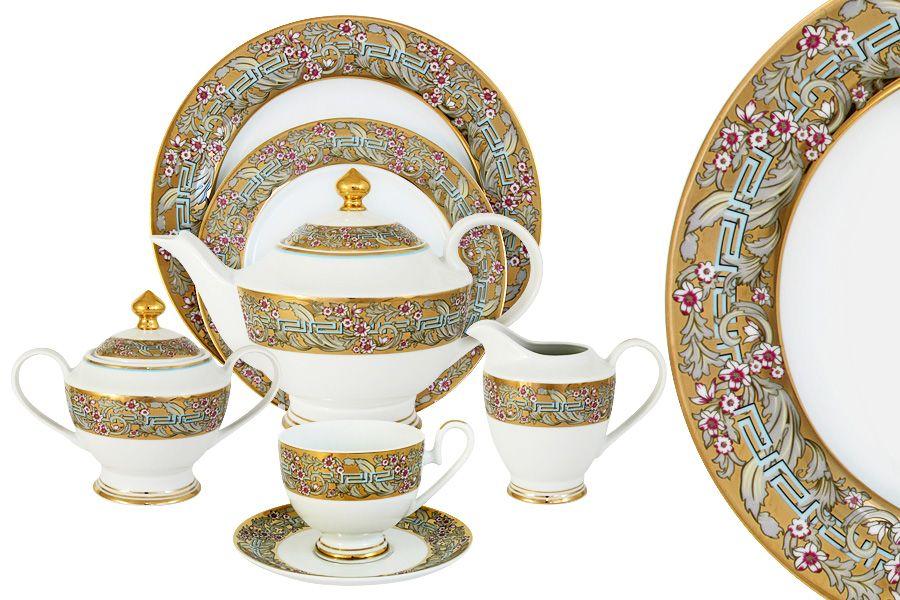 """Чайный сервиз на 12 персон """"Розовый берег"""", 42 пр."""