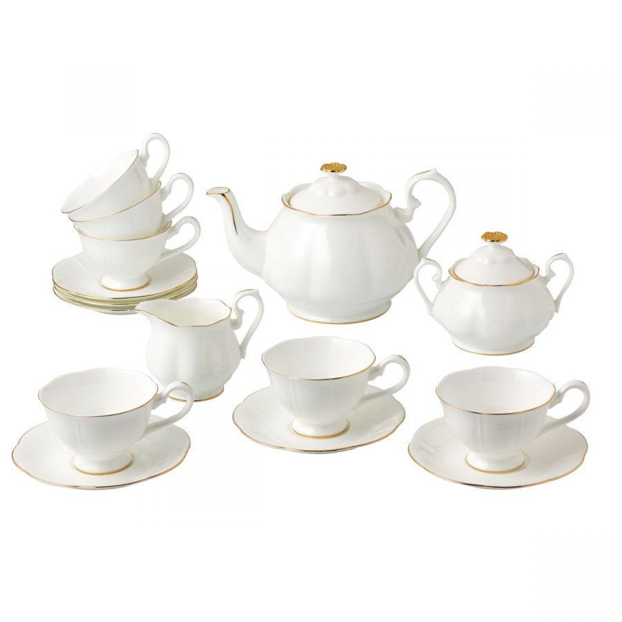 """Чайный сервиз на 6 персон """"Блан-де-Неж"""", 15 пр."""