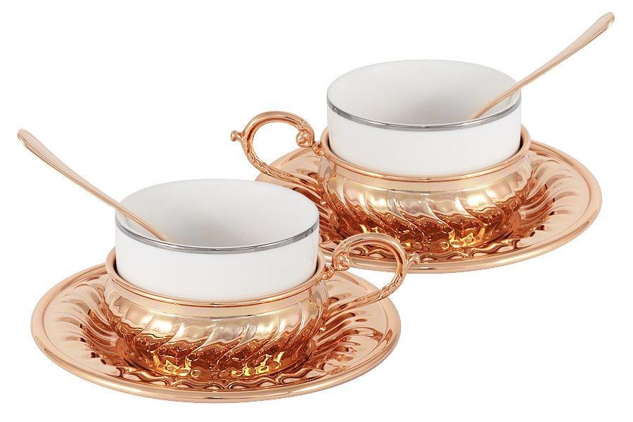 Чайный набор на 2 персоны Stradivari с отделкой под розовое золото
