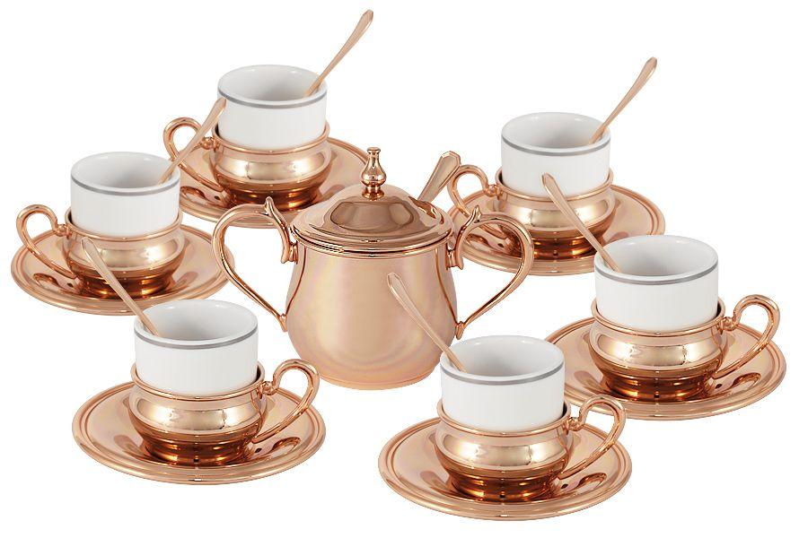 Кофейный набор на 6 персон Экстра-люкс, 20 пр. (с отделкой под розовое золото)