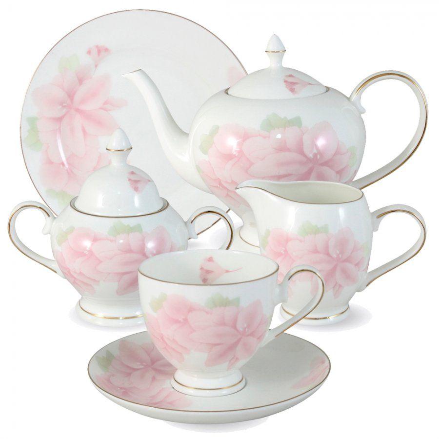 """Чайный сервиз на 6 персон """"Розовые цветы"""", 21 пр."""