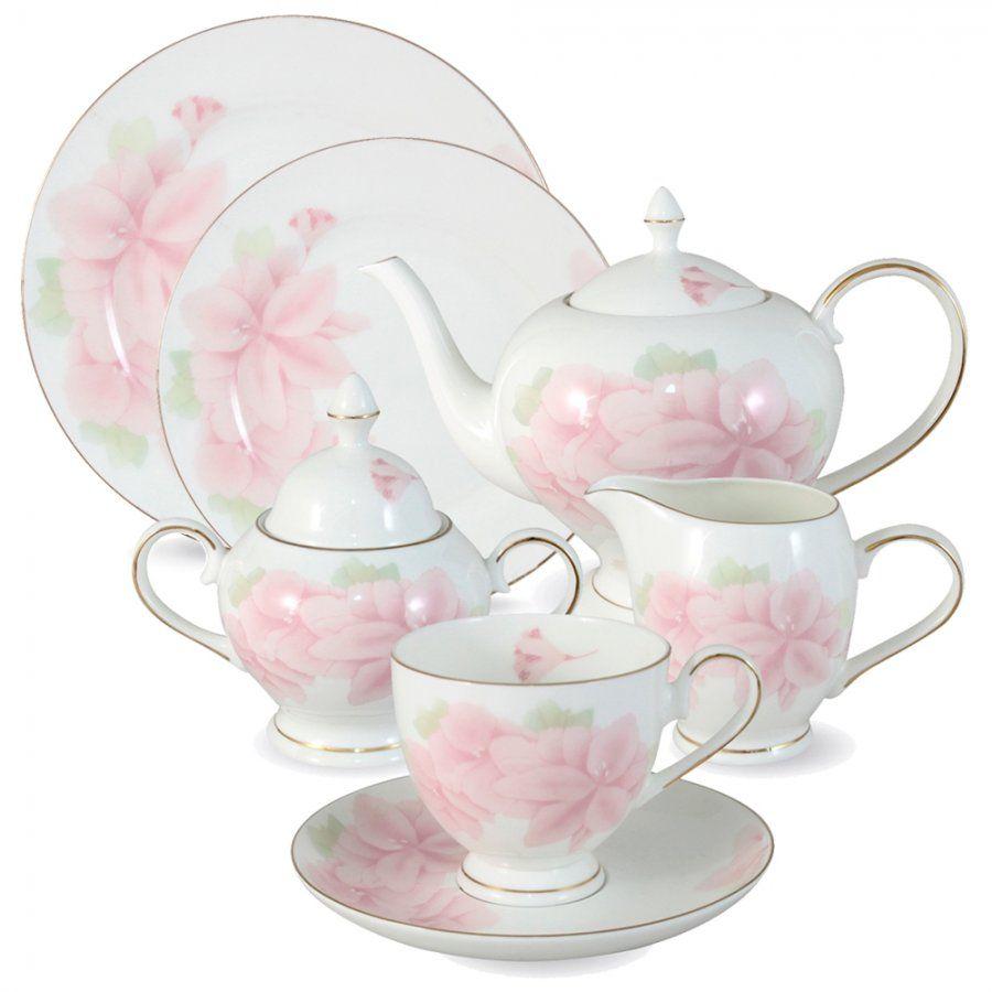 """Чайный сервиз на 12 персон """"Розовые цветы"""", 40 пр."""